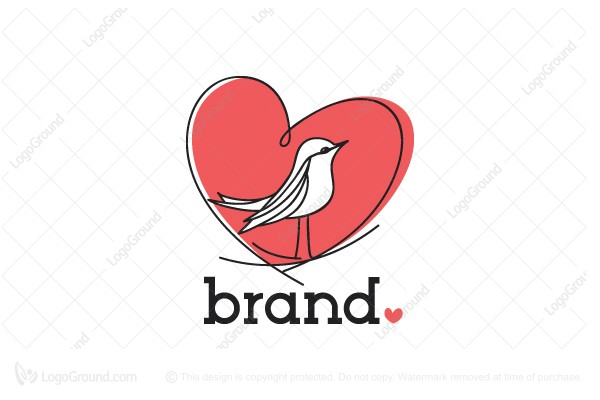 Logo for sale: Heart Bird Nest Logo