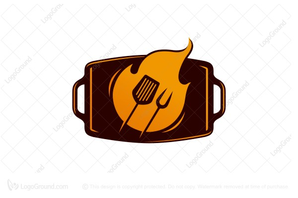 Logo for sale: Griddle Flame Bbq Logo