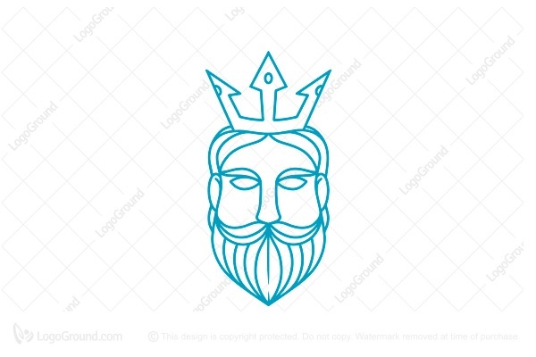 Logo for sale: Poseidon Line Art Logo