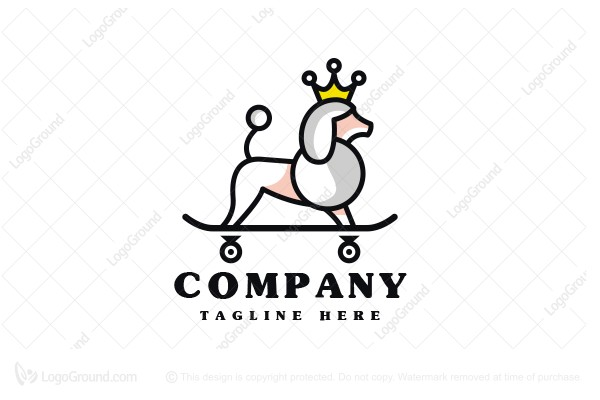 Logo for sale: Poodle Dog Skater Queen Logo