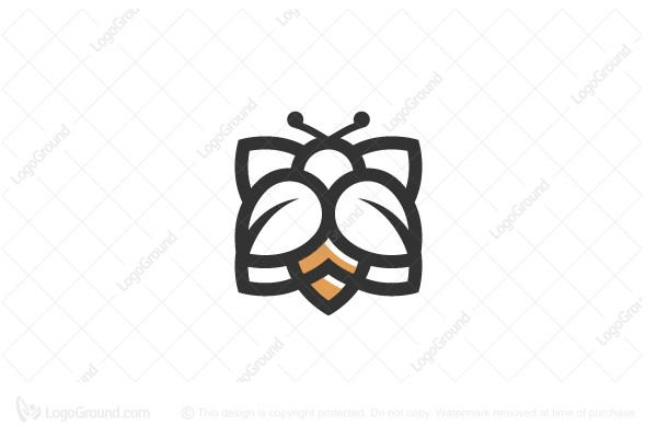Logo for sale: Bee On Flower Logo