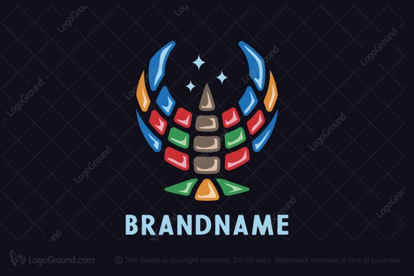 Logo for sale: Colored Mosaic Bird Logo
