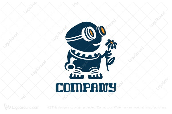 Logo for sale: Robot And Flower Logo