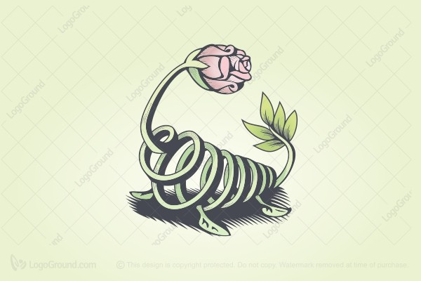 Logo for sale: Vine Rose Lizard Logo