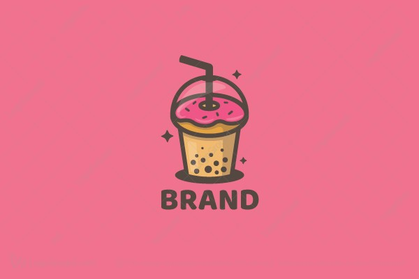 Logo for sale: Donut  Bubble Tea Logo