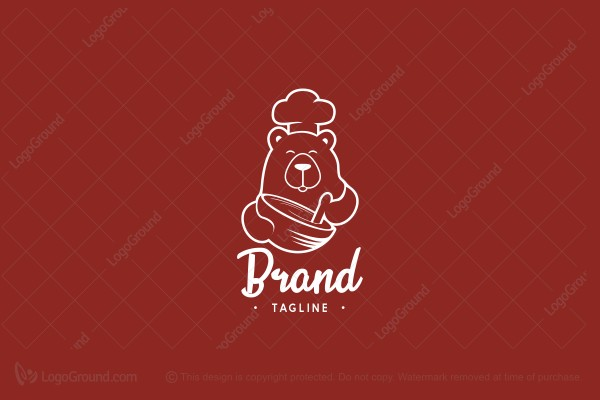 Logo for sale: Bear Chef Logo