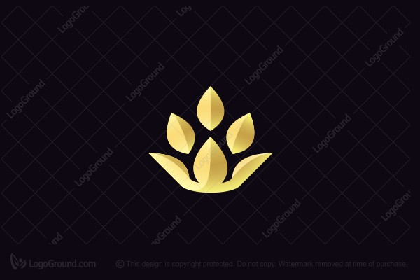 Logo for sale: Golden Lotus Crown Logo