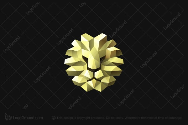 Logo for sale: Gold 3d Lion Logo