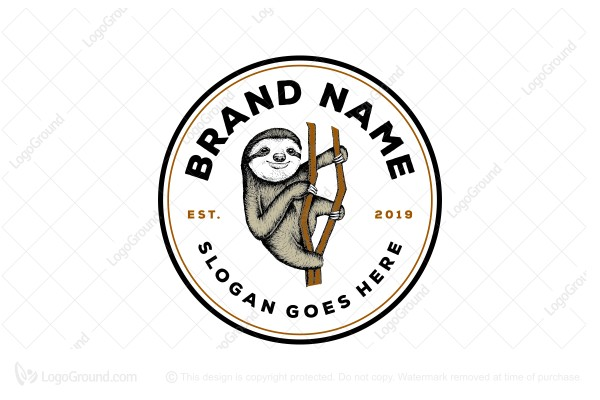 Logo for sale: Sloth Hand Drawing Logo