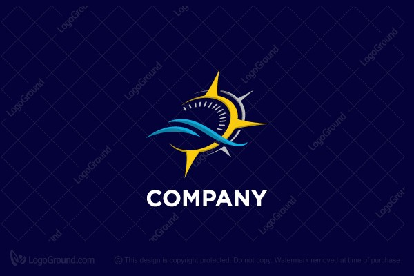 Logo for sale: Stylish Compass Nautical Logo