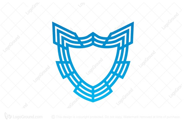 Logo for sale: Abstract Blue Shield Logo