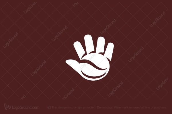 Logo for sale: Hand And Coffee Bean Logo
