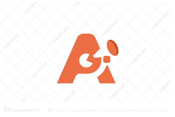 Logo for sale: The Letter A And A Man With A Mouthpiece Logo
