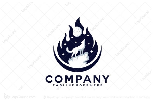 Logo for sale: Campfire Wolf Logo