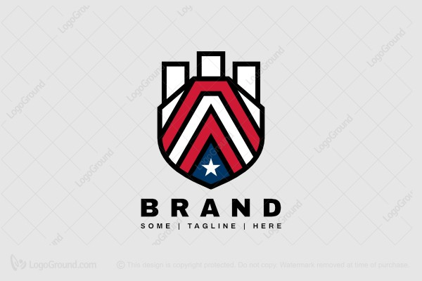 Logo for sale: Letter A Shield Tower Logo