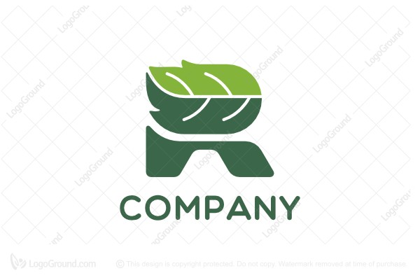 Logo for sale: Letter R Leaf Logo