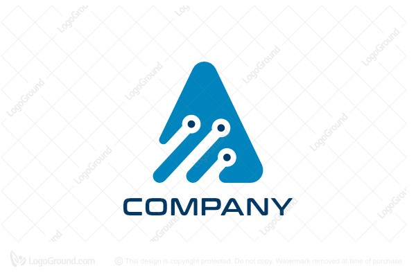 Logo for sale: Letter A Tech Nodes Logo