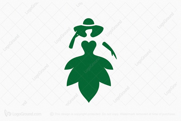 Logo for sale: Dress Green Leaf Logo