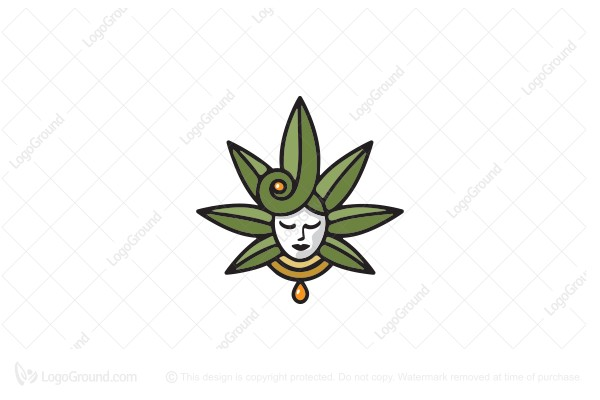 Logo for sale: Hemp Or Cbd Oil Goddess Logo