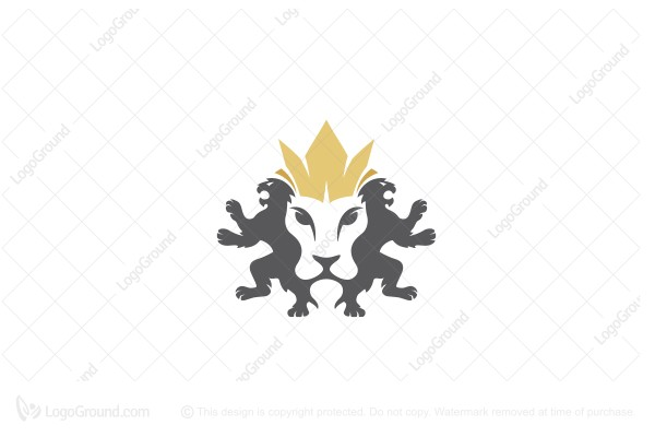 Logo for sale: Lion King Guarded with Two Lions Logo