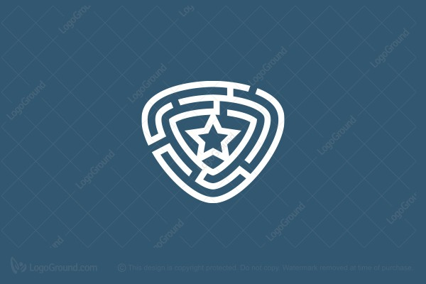 Logo for sale: Forensic Labyrinth Shield With A Star Logo