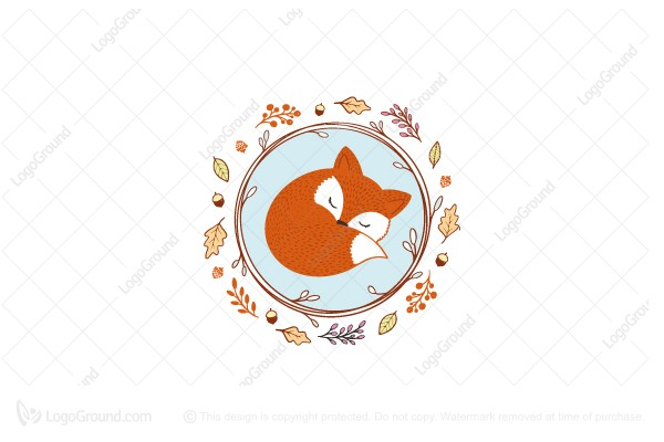 Logo for sale: Sleeping Fox In A Wreath Logo