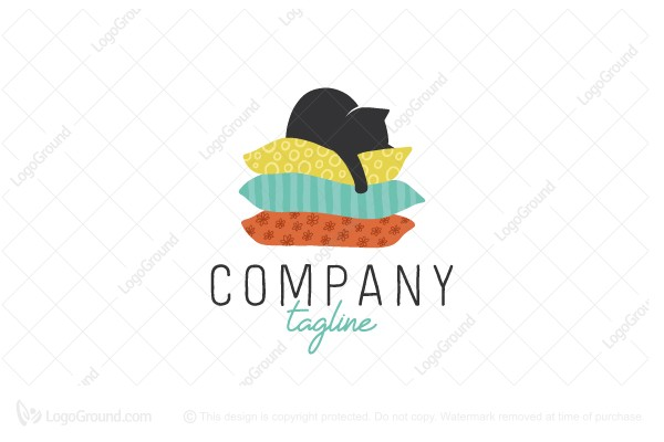Logo for sale: Cat On Pillows Logo