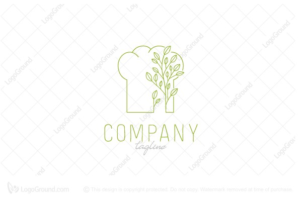 Logo for sale: Chef Hat With Plants Logo
