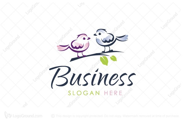 Logo for sale: Cute Birds Logo