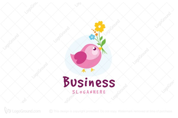 Logo for sale: Bird With Flower Logo