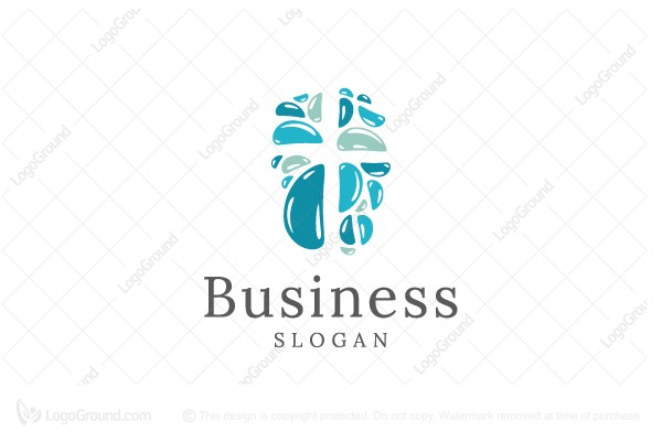 Logo for sale: Negative Space Stone Cross Logo