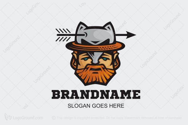 ef13b92bac1 Logo for sale  Wolf Hat Man Logo