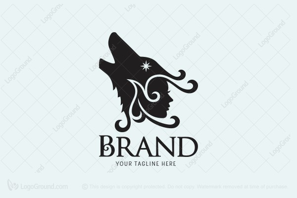 Logo for sale: Howling Wolf Lady Logo