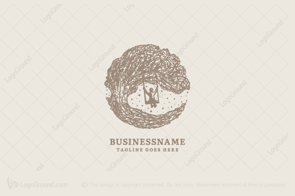 Logo for sale: Tree With Swing Logo