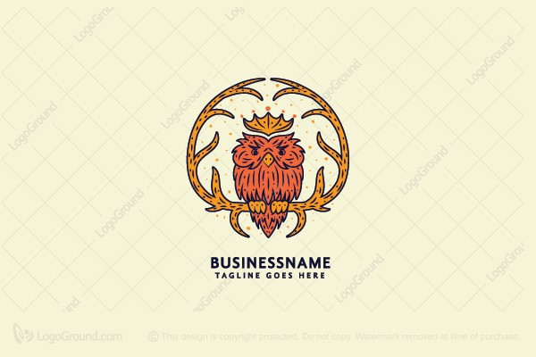 Logo for sale: Owl With Crown Logo