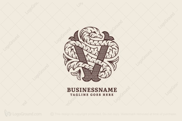 Logo for sale: Letter V Vintage Dragon Logo