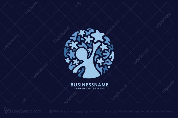 Logo for sale: A Kid Reaching the Stars Logo