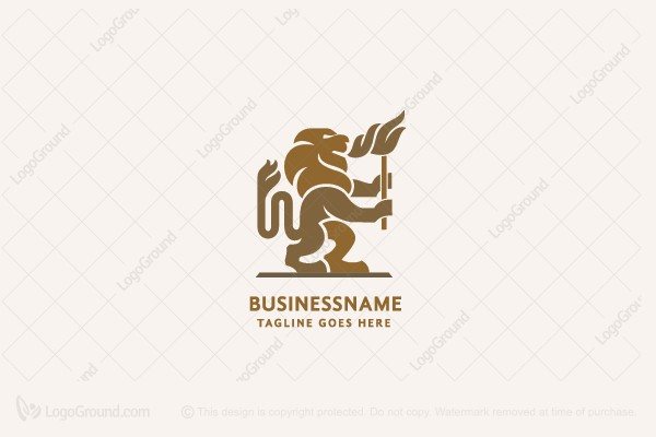 Logo for sale: Lion With Fire Logo