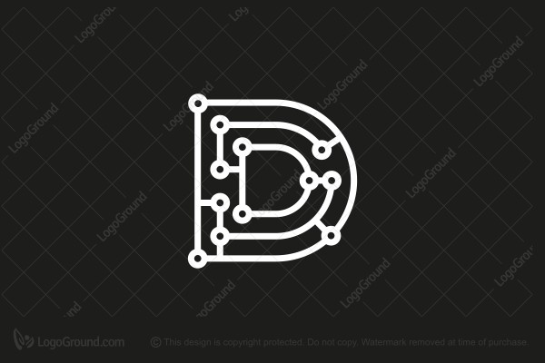 Logo for sale: Letter D Micro Chip Maze Logo