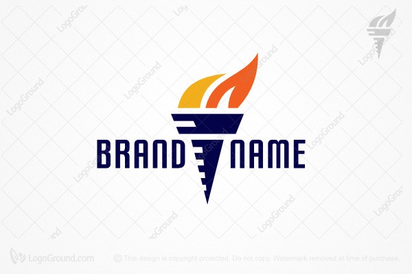 Logo for sale: Flaming Torch Logo