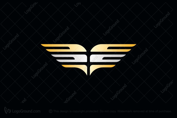 Logo for sale: Gold And Silver Wings Logo