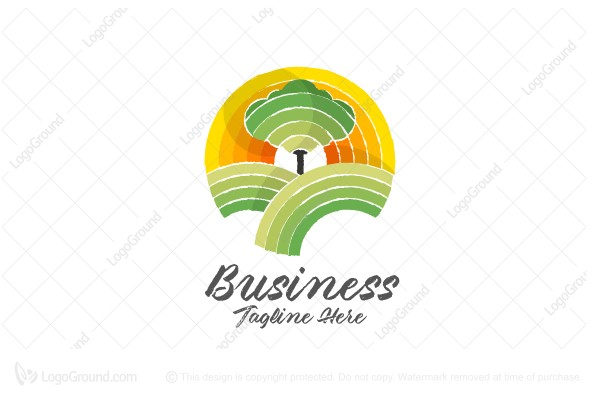 Logo for sale: Tree On Lanscape Logo