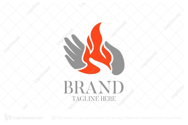 Logo for sale: Hand Holding Flame Logo
