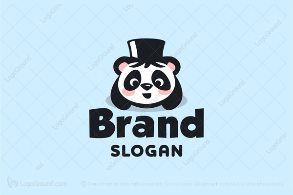 Logo for sale: Cute Wizard Baby Panda Logo