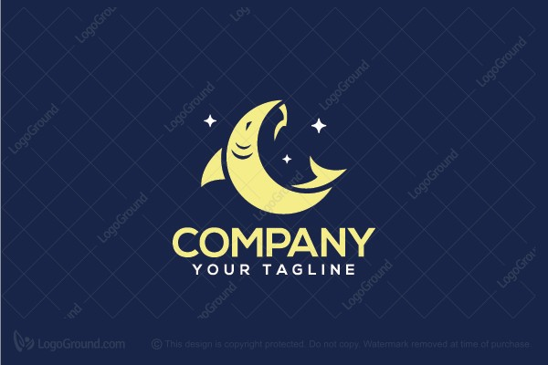 Logo for sale: Moon Shark Logo