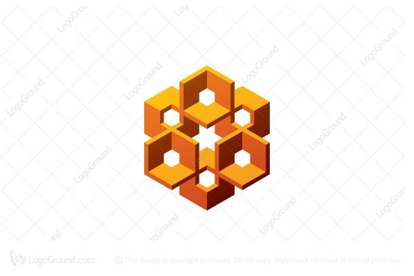 Logo for sale: Abstract Intricate Hexagonal Structure Logo