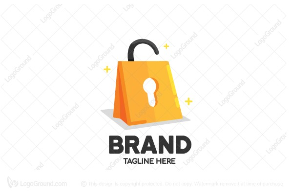 Logo for sale: Shopping Lock Logo