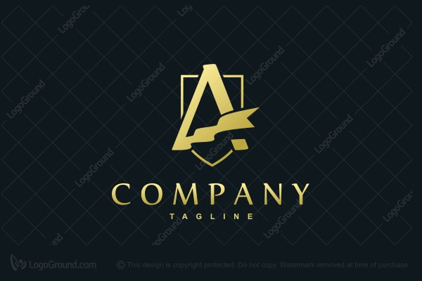 Logo for sale: Golden Flag A Logo
