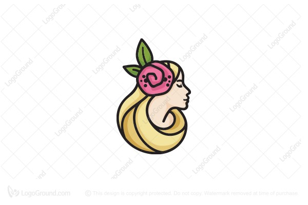 Logo for sale: Blonde Girl With Hair Bloom Logo