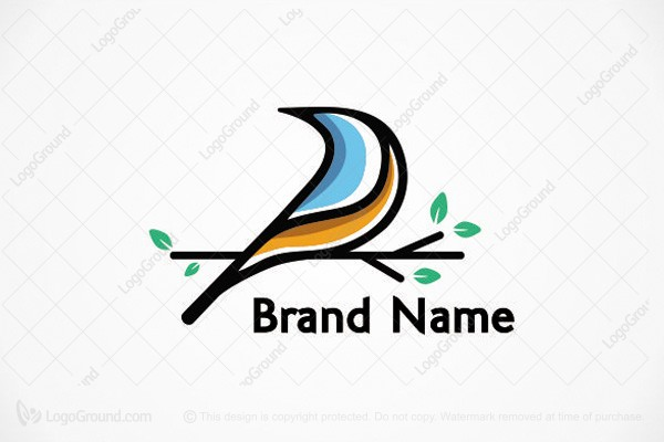 Logo for sale: Bird On Branch Logo